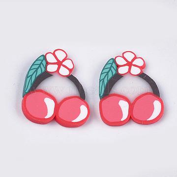 Handmade Polymer Clay Cabochons, Cherry, Cerise, 22~23x18~19x2mm(CLAY-S091-56)