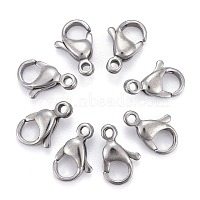 304 Stainless Steel Lobster Claw Clasps, Parrot Trigger Clasps, Grade A, Stainless Steel Color, 12x7.5x3.5mm, Hole: 1.4mm