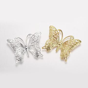 Rack Plating Brass Filigree Links, Butterfly, Mixed Color, 26x34.5mm, Hole: 3mm(X-KK-K169-003)