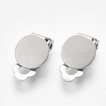 304 Stainless Steel Clip-on Earring Findings, Flat Round, Stainless Steel Color, Tray: 10mm; 18x10x6mm, Hole: 3mm(X-STAS-T045-33B-P)