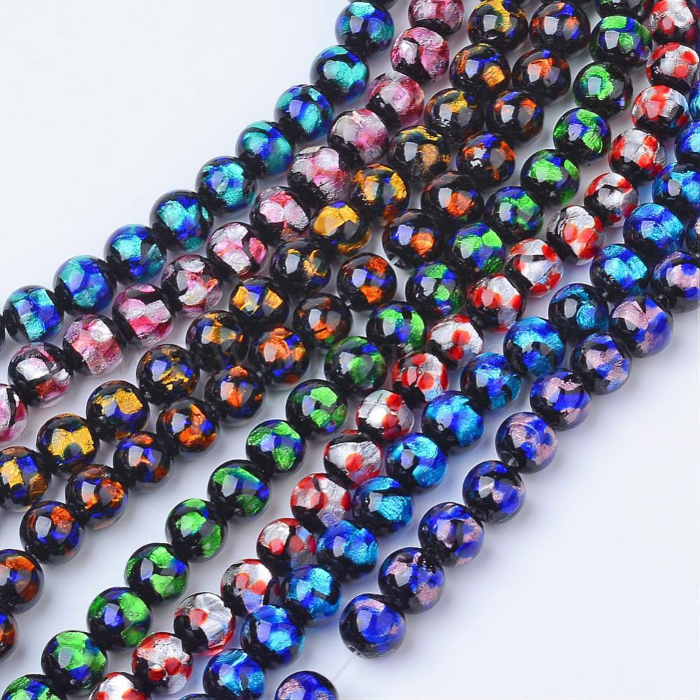 Amethyst 10 mm Hand-made Round Silver Foil Glass Beads Lampwork Glass Beads 10 pc.