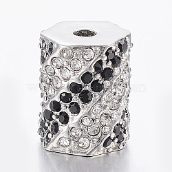 304 Stainless Steel Rhinestone Beads, Hexagon, Stainless Steel Color, 11.5x9mm, Hole: 2.5mm(STAS-F150-062P)