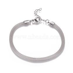 """Chaînes de réseau en acier inoxydable / bracelets en maille, avec fermoir pince de homard, couleur inoxydable, 7-5/8"""" (19.3cm) ~ 7-5/8"""" (19.5cm)(BJEW-I274-13S)"""