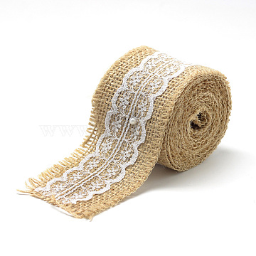 Burlap Ribbon, Hessian Ribbon, Jute Ribbon, with Cotton Ribbons, for Jewelry Making, Tan, 2 inches(50mm); about 2.187yards/roll(2m/roll)(X-OCOR-R071-13)