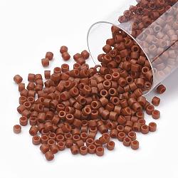 Miyuki® delica beads, perles de rocaille japonais, 11 / 0, (db 0794) terre de sienne opaque semi-givrée teinte, 1x1.5 mm, trou: 0.5 mm; sur 2000 pcs / bouteille(SEED-S015-DB-0794)