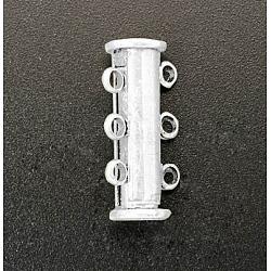 Fermoirs 3 brins serrure en laiton diaporama, accessoire de bijoux, 6 trous, argent, 20x7 mm, trou: 2 mm(X-KK-Q267-6)