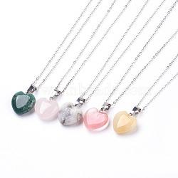 """Colliers de pierres précieuses Pendentif naturelles et synthétiques, avec des chaînes en laiton, cœur, 17.3"""" (44 cm), 1.5mm(NJEW-JN02162)"""