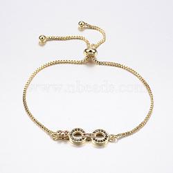 """Bracelets bolo extensibles en laiton avec zircon cubique de micro pavé, Bracelets coulissants, avec des chaînes de boîte en laiton, lunettes, or, 10-5/8"""" (270 mm)(BJEW-F302-16G)"""