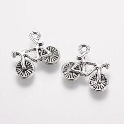 pendants en alliage de style tibétain, vélo, argent antique, 13.5x15.5x2 mm, trou: 1.5 mm(X-PALLOY-F173-07AS)