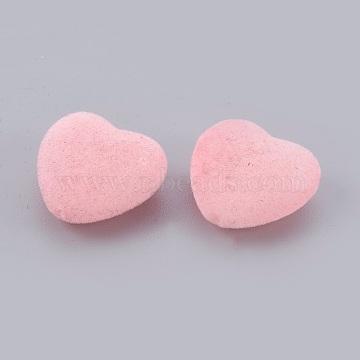 18mm Pink Heart Velvet Beads