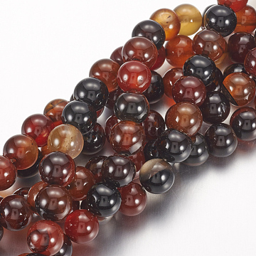 Natural Agate Beads Strands, Dyed, Round, DarkRed, 8mm, Hole: 1mm, , about 24pcs/strand, 7.6inches(X-G-G515-8mm-04)