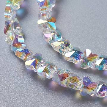 Glass Imitation Austrian Crystal Beads, Faceted Butterfly, Clear AB, 6x8x5mm, Hole: 0.9mm(GLAA-F108-06B)