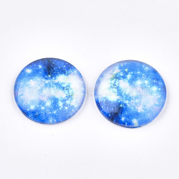 Starry Sky Pattern Printed Glass Cabochons, Half Round/Dome, Colorful, 25x6~6.5mm(X-GGLA-N004-25mm-D66)