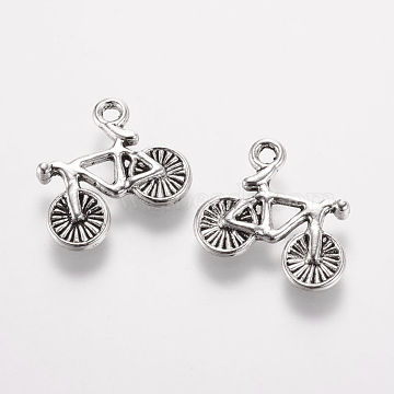 Tibetan Style Alloy Pendants, Bicycle, Antique Silver, 13.5x15.5x2mm, Hole: 1.5mm(X-PALLOY-F173-07AS)