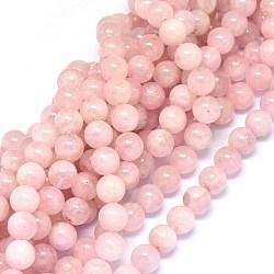 """Chapelets de perles en morganite naturelle, rond, 10mm, trou: 0.8mm; environ 40~41 pcs/chapelet, 15.3~16.3"""" (39~41.5 cm)(G-F602-12-10mm)"""