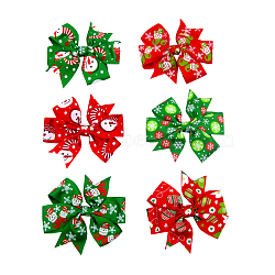 Christmas Grosgrain Alligator Hair Clips, with Iron Alligator Clips, Bowknot, Mixed Color, 80x55mm(OHAR-Q053-M)