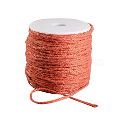 Cordon de chanvre coloré, 3 pli, pour la fabrication de bijoux, orange rouge , 2 mm; 100 m / rouleau(OCOR-R008-2mm-006)