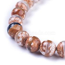 Perles de style tibétain, agate naturel, teint, facette, rond, 8mm, Trou: 1mm(TDZI-G002-8mm-10)