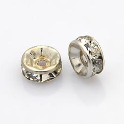 Séparateurs perles en 316 acier inoxydable, avec strass, rondelle, couleur inoxydable, 7x3mm, Trou: 1mm(X-STAS-N032-05P)
