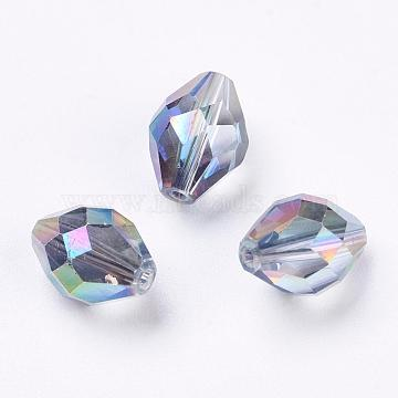 Imitation Austrian Crystal Beads, Grade AAA, Faceted, Oval, Colorful, 8x11mm, Hole: 0.9~1mm(SWAR-F054-11x8mm-31)