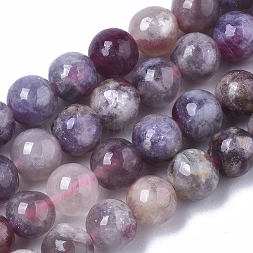 Natural Purple Red Tourmaline  Beads Strands, Round, 6~7mm, Hole: 0.9mm, about 63pcs/Strand, 15.35 inches(39cm)(G-N327-02A-01)