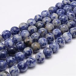 натуральные голубые пятна нитей яшмы, вокруг, 8 mm, отверстия: 1 mm; о 48 шт / прядь, 15.5(G-K153-B07-8mm)
