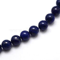Dyed Natural Lapis Lazuli Round Beads Strands, Grade A, 12mm, Hole: 1mm; about 33pcs/strand, 15.5