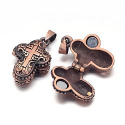 Crémaillère en laiton placage boîte de prière pendentifs, boîte souhaiter, avec aimant, sans nickel  , croix sculptée, cuivre rouge, 27x18x10mm, Trou: 5x3mm(KK-E737-93R-NF)