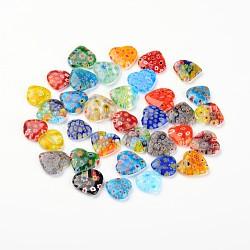 coeur main millefiori pendentifs en verre, avec motif de fleurs, couleur mélangée, 15~20x15~20x3~6 mm, trou: 1~2 mm(X-LAMP-I011-02)