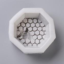 Moules en silicone, moules de résine, pour la résine UV, fabrication de bijoux en résine époxy, nid d'abeille avec abeilles, blanc antique, 76x74.5x34mm(DIY-E018-32)