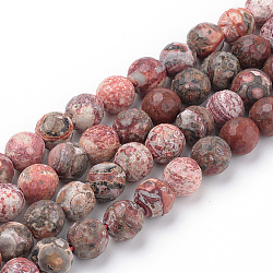 """Perles de jaspe peau de léopard rouge naturel brins, facette, rond, 10~10.5mm, trou: 1.2mm; environ 36 pcs/chapelet, 15.5""""(G-Q462-88-10mm)"""