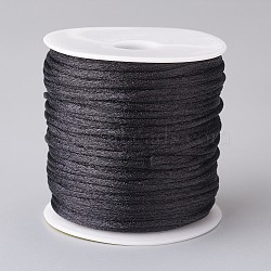 Polyester Cord, Satin Cord, for DIY Chinese Knot, Black, 2mm; about 45m/roll(OCOR-CJC0001-02A-01)