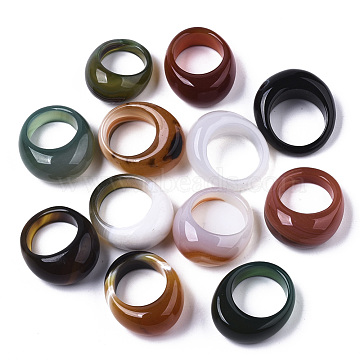 Natural Agate Rings, Wide Band Rings, Dyed, Mixed Color, Size 9, Inner Diameter: 19mm(G-N0326-033)