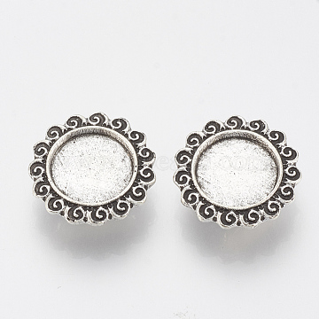 Antique Silver Flower Alloy Slide Charms