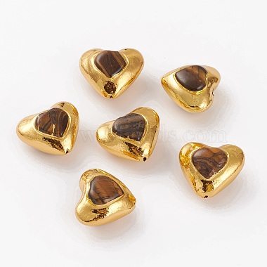 Coconut Brown Heart Tiger Eye Beads