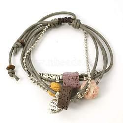 Perles de lave bracelets, cordon de coton ciré avec des alliages, perles de bois et plastique ccb, gris, sur 51 mm de diamètre intérieur, perles de lave: 9~16x7~12 mm; résultats de l'alliage: 6~14x1~8 mm; perles de bois: 6x3 mm; plastique ccb: 12x9x1 mm(BJEW-D262-05)