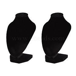 Collier écrans de velours, présentoir à bijoux, noir, 10x7.05x15 cm(NDIS-WH0001-01)