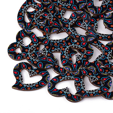Printed Basswood Pendants, Heart, Black, 33.5x39.5x3mm, Hole: 1.4mm(X-WOOD-S045-012B)
