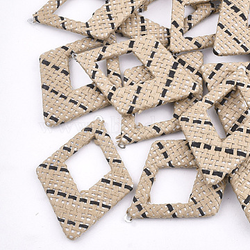 69mm BurlyWood Rhombus Raffia Pendants