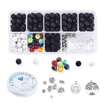 DIY Chakra Jewelry Making, with Elastic Crystal Thread, Gemstone Beads and Alloy Findings, Antique Silver, Mixed Color, 135x70x30mm(DIY-JP0005-63B)