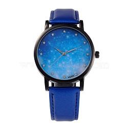 Женские сплав Кожа PU кварцевые наручные часы, со стразами, покрытие черного цвета металла, синие, 240x18 мм; голова часы: 39.5x10.5; Циферблат: 35 мм(WACH-M131-02C)