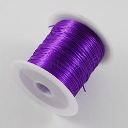 chaîne de cristal élastique plat, fil de perles élastique, pour la fabrication de bracelets élastiques, Darkviolet, 1 mm, 10 m / rouleau(EW-S002-06)