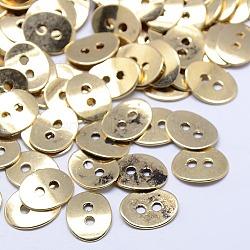 Boutons en alliage de style tibétain, sans plomb et sans nickel, ovale, Or antique, 14x11x1mm, Trou: 2mm(X-TIBE-ZN48623-AG-FF)