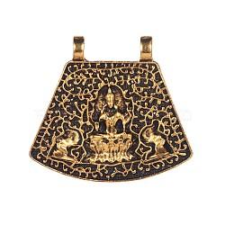 pendants en alliage de style tibétain, trapèze, or antique, 35.5x38.5x3.5 mm, trou: 3.5 mm(TIBE-F026-08AG)