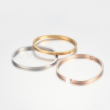304 Stainless Steel Bangles, Mixed Color, 1-7/8 inchesx2-1/4 inches(48x56mm), 4x2.5mm(BJEW-F303-04)