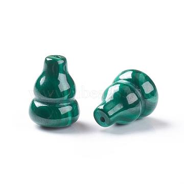 Natural Malachite Beads, Half Drilled, Calabash, 13.5~14x10mm, Half Hole: 1mm(G-E557-16)