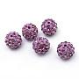 Polymer Clay Pave Rhinestone Beads, Disco Ball Beads, Light Amethyst, PP13(1.9~2mm), 6 Rows Rhinestone, 10mm, Hole: 1.5mm