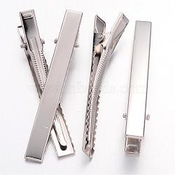 Accessoires à cheveux en alligator plat en fer, accessoires de cheveux de DIY faisant, platine, 77x9mm(IFIN-S286-77mm)