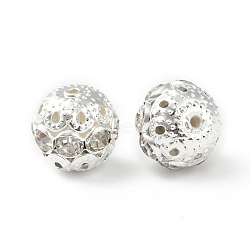 Brass Rhinestone Beads, Grade A, Silver Color Plated, Round, Crystal, 12mm in diameter, Hole: 1.5mm(RB-A011-12mm-01S)