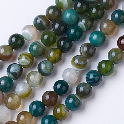 Natural Grade A Striped Agate/Banded Agate Beads Strands, Dyed & Heated, Round, Mixed Color, 10mm, Hole: 1.2mm; about 47pcs/strand, 14.9''(38cm)